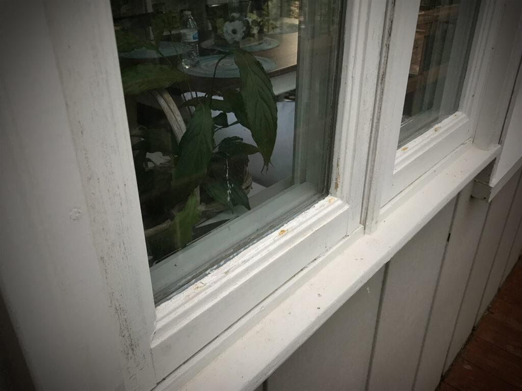 Old wooden frame casement windows needing paint Kitchen