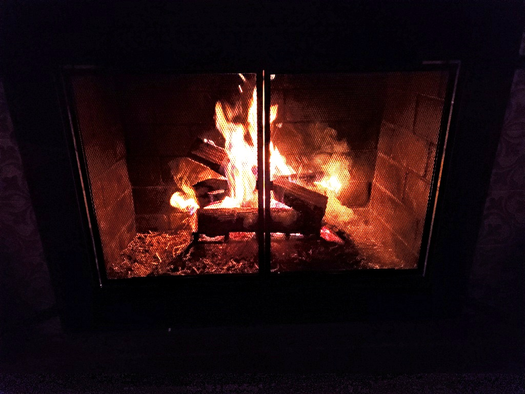 Enjoying the first Fire of the season in our fireplace