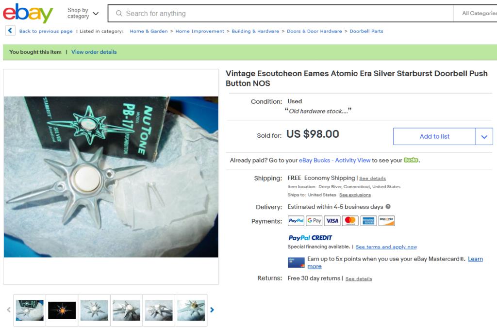 Purchased a Vintage Atomic Era NuTone Starburst Doorbell