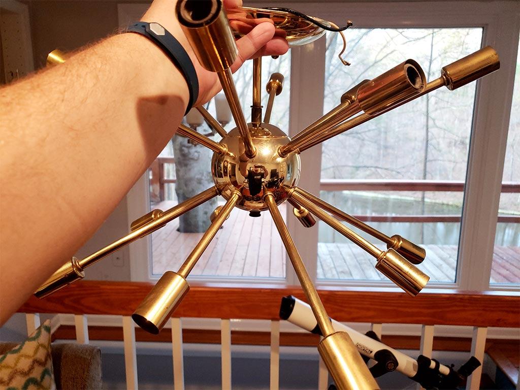 1950's Modern Sputnik Chandelier Brass out of box