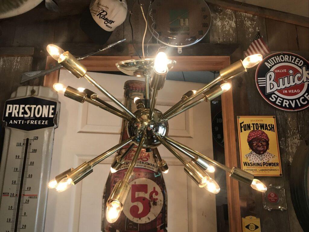 Vintage Mid Century Modern Atomic Sputnik Chandelier
